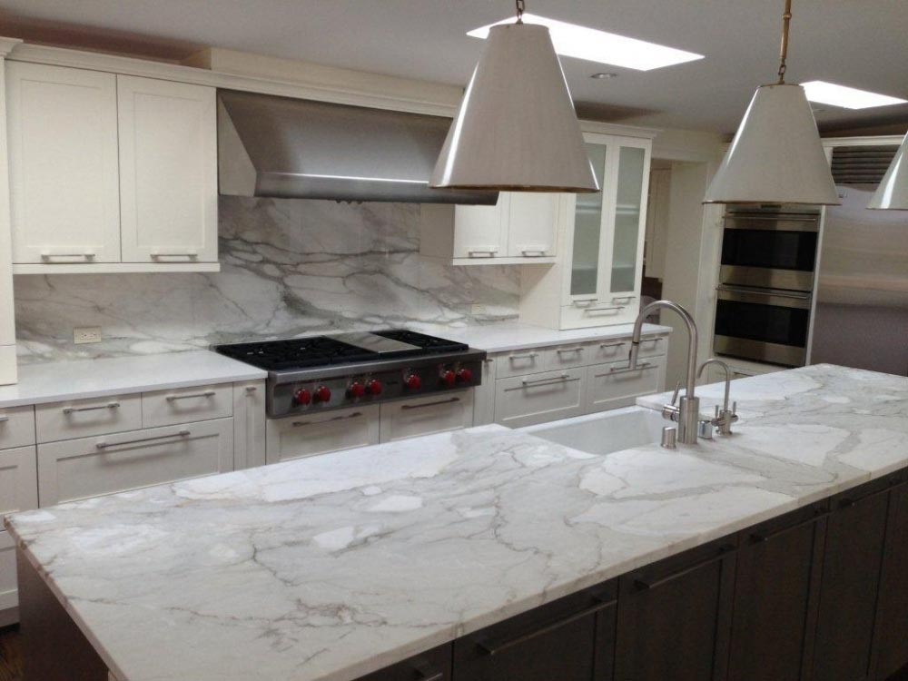 Brown Carrara Marble Backsplash Kitchen